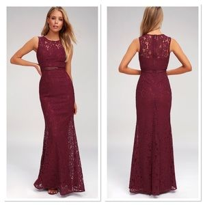 Lulu's burgundy music of the maxi heart lace dress